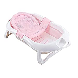 A literary youth Kids Portable Folding Bathtub,Folding Bathtub Household Baby Portable Tub Plastic Large Children Can Sit And Lie Down Bathing Bucket Newborn Supplies Pink @Pink