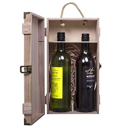 woodluv Vintage Wooden, Double Wine or Champagne Bottle Gift Box With Built-in handle