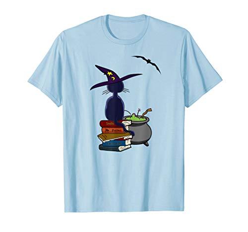 Kostüm Alte Dame Katze - Schwarze Katze, Alte Bücher Und Hexenkessel Halloween T-Shirt
