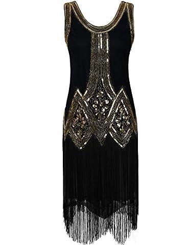 Flappers Costumes - Kayamiya Femmes Retro Inspiré 1920s Perlé Paillettes