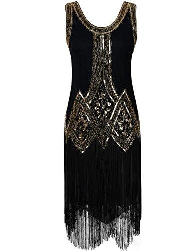 Kayamiya Damen Retro Inspiriert 1920er Paillette Perlen Art Deco Franse Flapper Kleid M Gold
