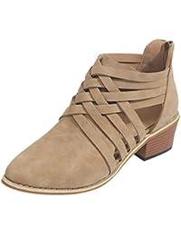 50c0774167f7 SANFASHION Bottes Chelsea Femme Chaussures Classique Bandage Boots Creux  Bottes Chukka Simple Cheville Bottes Martin Roman
