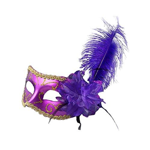 Prettyia Venezianische Maske, Maskenball Masken Feder Maske Damen Masquerade Maske Venedig Maske Maskerade Maske für maskenbälle Kostüm Party Halloween Cosplay - Lila