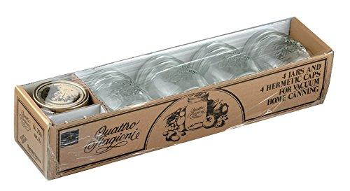 8tlg. Quattro Stagioni Geschenkset - 4x 0,25L Glas + 4x Deckel incl. Bormioli Rezeptheft