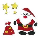 MagicGel Fensterbilder Weihnachten - Nikolaus mit Sack (18 x 17 cm), Fensterdeko für das Basteln mit Kindern