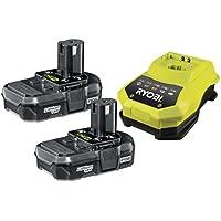 Ryobi - Set di 1 caricabatteria e 2 batterie al litio 18 V 1,3 Ah