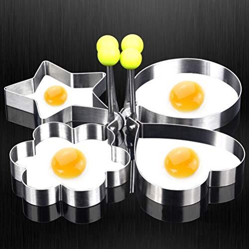 Fiesta 4 Stück/Set Edelstahl niedliche geformte Spiegelei-Formen Pfannkuchenringe Omelette Liebe Blume Stern Eierform Küche Werkzeug