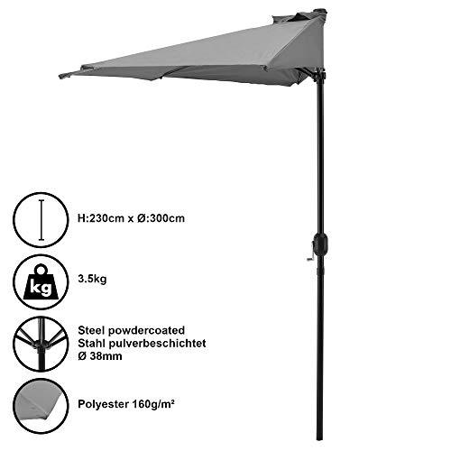 [casa.pro]® Halbschirm Halb-Sonnenschirm Balkonschirm Marktschirm Kurbelschirm Schirm Halbrund Grau / Ø300cm H230cm / 3,5kg / Stahl/Polyester 160g/m²