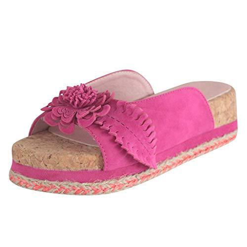 Dorical Damen Roman Slippers Espadrilles Frauen Daisy Übergrößen Flandell Wedge Peep-Toe Hausschuhe Comfort Schuhe Für Casual Strand Outdoor Garten(Z02-Rosa,40 EU)