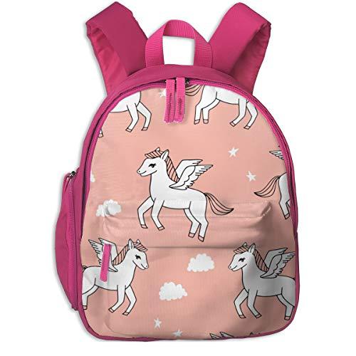Kinderrucksack für Mädchen, Pegasus Stoff Cute Pegasus Whimsical Fantasy Stoff Für Mädchen Cute Baby Nursery Design - Peach_5593 - Andrea_Lauren, Für Kinderschulen Oxford Stoff (pink)