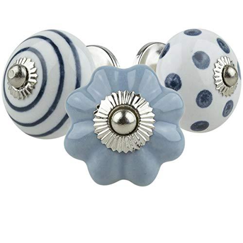 Möbelknopf Möbelknauf Möbelgriff 3er Set 074GN02 Blau Grau Weiß - handbemalte Keramik Porzellan Vintage Möbelknöpfe für Schrank, Schublade, Kommode, Tür - Keramik-möbelknopf