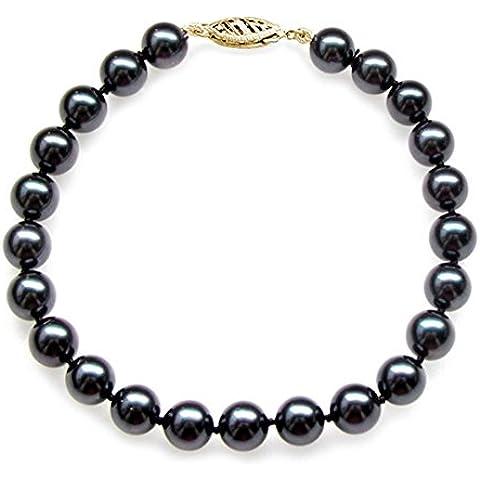 14 K oro amarillo color de la perla de Akoya japonés cultivadas AAA calidad de la pulsera (6,5-7 millimeter)