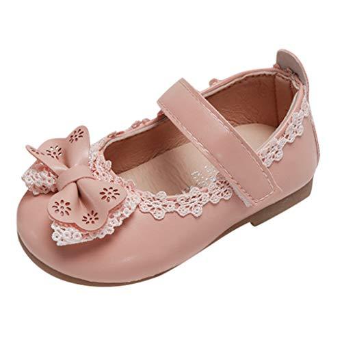 Mädchen Klettverschluss Sneaker Kleinkind Rutschfeste Lauflernschuhe Spitzenschleife Netter Tragekomfort Weich ()