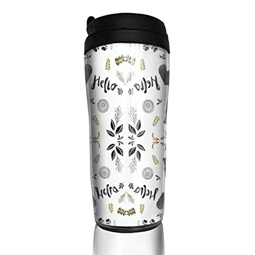 Travel Coffee Mug Woodland Watercolor Bear 12 Oz Spill Proof Flip Lid Water Bottle Environmental Protection Material ABS