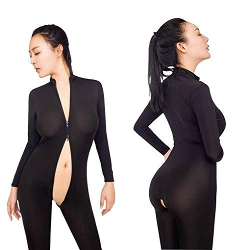 Mirlun Schwarz Sexy Damen Transparent Catsuit Reißverschluss Offener Schritt
