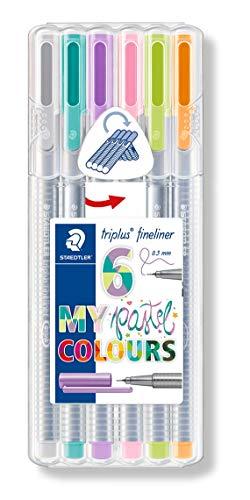 triplus Fineliner Pastel Colours (ergonomischer Dreikantschaft, auswaschbar, Strichbreite 0,3 mm, 6 farblich sortierte Fineliner in Pastellfarben, aufstellbare Staedtler Box) ()