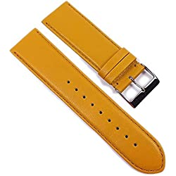 Beach Replacement Band Watch Band Leather Kalf mustard yellow 21706S, width:28mm