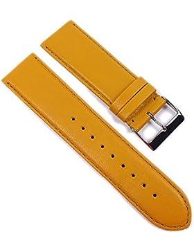Beach Ersatzband Uhrenarmband Kalbsleder Senf Gelb 21706S, Stegbreite:24mm