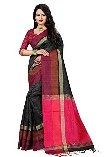 Traditional Ethnic Raw Silk Banarasi Sarees With Unstitched Blouse Design, Black