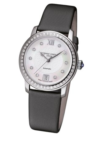Frederique Constant Slimline FC303WHD2PD6 34mm Diamonds Automatic Stainless Steel Case Grey Cloth Anti-Reflective Sapphire Women's Watch