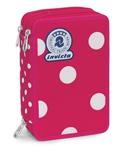 Astuccio 3 zip invicta, micro macro dots, rosa pois, con contenuto: matite, pennarelli