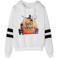 CUTUDE Langarm Hoodie Sweatshirt Damen Kapuzenpullover Bluse Halloween Gedruckt Beiläufig Weiß Grau Top
