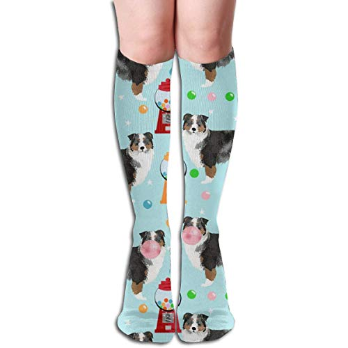 NFHRRE Australian Shepherd Bubble Gum - Cute Dogs and Candy Design Men's Women's Cotton Crew Athletic Sock Running Socks Soccer Socks 60cm