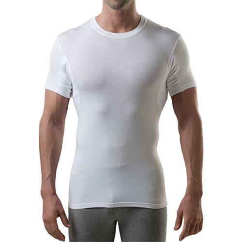 Thompson Tee - Anti-Schweiß Kurzarm-Unterhemd mit Achselschweiß-Polstern - Enge Passform - Rundhalsausschnitt - Weiß - Small (Beständig Unterhemd)
