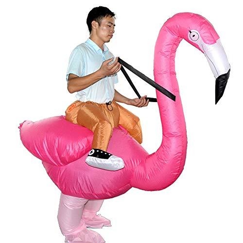 (Decdeal Aufblasbares Kostüm Flamingo Fatsuit Erwachsen und Kind Lüfter Gebläse für Halloween Fasching Cosplay Karneval Party)