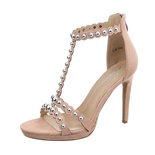Ital-Design High Heel Sandaletten Damen-Schuhe Pfennig-/Stilettoabsatz Heels Reißverschluss Sandalen & Altrosa, Gr 37, C-36- -