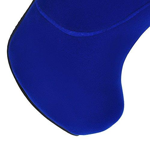 AgooLar Femme Couleur Unie Suédé à Talon Haut Zip Rond Bottes Bleu