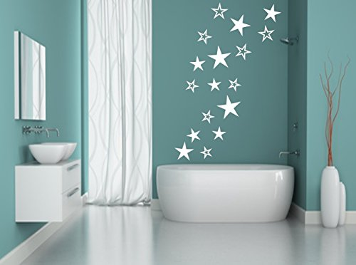 Sterne Aufkleber Wandschnörkel® Wandtattoo selbstklebend viele Farben (Logo Sterne)