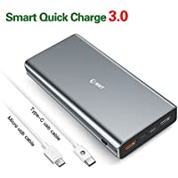 Cargador portátil, 22000mAh (Carga rápida 3.0 y salida de tipo C 3.0A) EMNT Power Bank 4 Puerto USB Paquete de batería externa para Iphone 7/8 / X, Ipad, Samsung Galaxy J3 / S7 / S8, Huawei P10 y otros dispositivos USB- Gris plateado