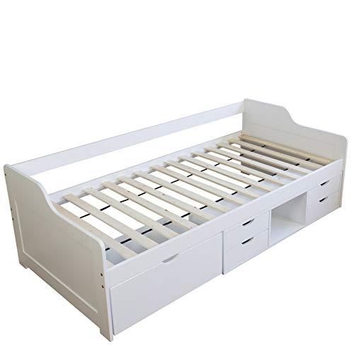 Homestyle4u 1422 Holzbett Kiefer massiv , Einzelbett aus Bettgestell mit Lattenrost und Schubladen , 90x200 cm , Weiß (Schubladen Mit Einzelbett Weißes)