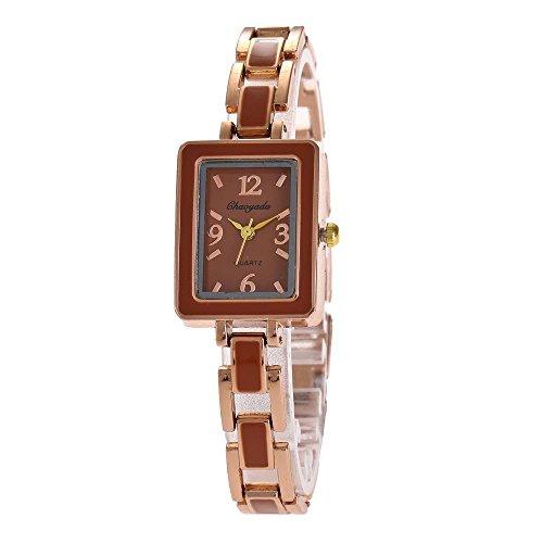 YAZILIND Quarz Armbanduhr quadratisches Zifferblatt Titan Stahl Armband Mode Armband