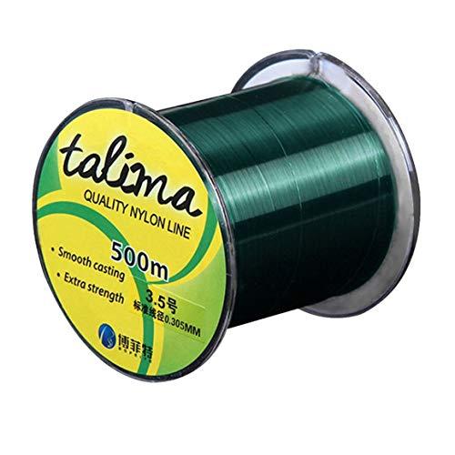 Hochwertige Nylon Angelschnur 500m Extra Strength Nylon Mainline verschleißfeste Fliegen Angelschnur Imported Raw Silk (Farbe: Blackish Green) 3.55