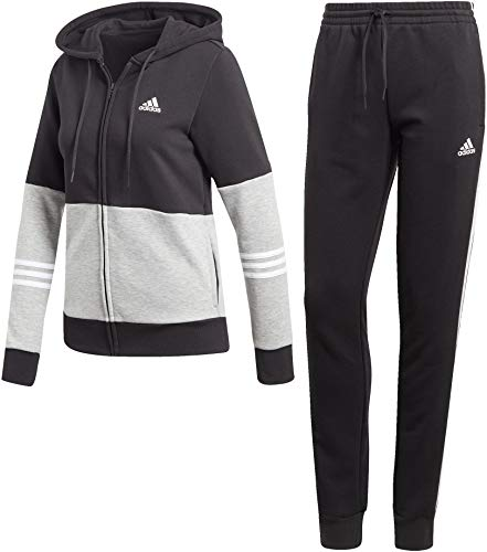 adidas Damen Cotton Energize Trainingsanzug, Black/Medium Grey Heather/White, S (Anzug-jacken Frauen)
