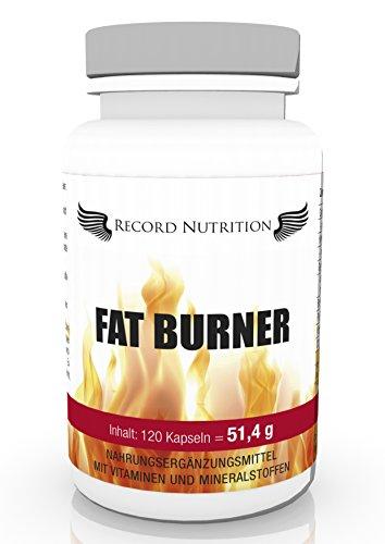 Record Nutrition Fat Burner 120 Kapseln, Premiumqualität hochdosiert abnehmen innerhalb kürzester Zeit, Diätpillen, Stoffwechseldiät, geeignet für Männer und Frauen, Grüner Kaffee, Garcina Cambogia, Ananas Enzyme