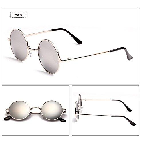 neue persönlichkeit retro - stars, runde sonnenbrille, männer und frauen, die koreanische prinz, sonnenbrille, flut, runde augen,silber - weiße box (bag) quecksilber