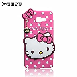 Octer Covers For Samsung Galaxy A5 (2016) Back Cover Hello Kitty Silicone With Pendant (Pink)
