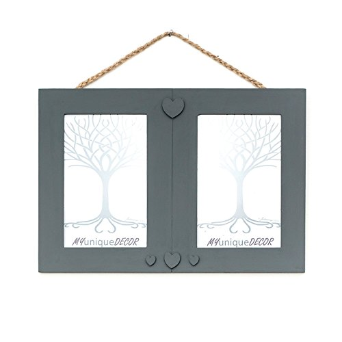 double-duo-wall-hanging-photo-picture-frame-hand-painted-in-dark-grey-matt-to-suit-photo-size-6-x-4-
