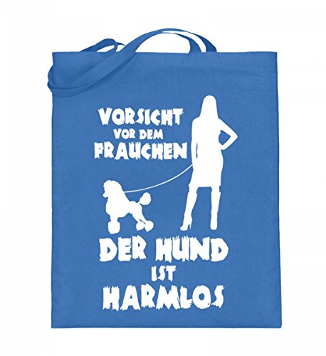 tel (mit langen Henkeln) - Vorsicht Frauchen - Pudel (Pudel Handtasche)
