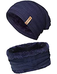 TOSKATOK® Unisex Uomo in Pile Foderato in Pile Chunky Knit Slouch Beanie  Hat And Neckwarmer Snood per Sport Invernali all aperto Sci 530dfd1a13b3