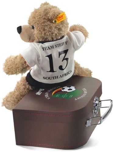 "Steiff 12563 - Teddy-Bär Fynn 28 cm beige, ""Fußballer""  im Koffer"