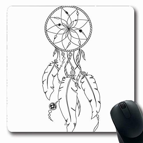 Luancrop Alfombrillas Lápiz Patrón Libro para Colorear Páginas Adultos Indio Atrapasueños Henna Mehndi Tatuaje Garabatos Resumen Antideslizante Gaming Mouse Pad Alfombra de Goma Oblonga