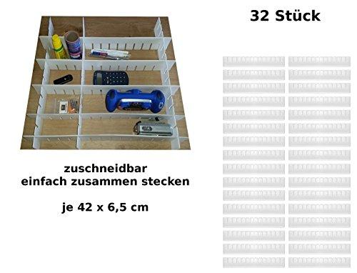 32tlg. Schubladenteiler Set Fachteiler Schubladeneinteiler Schubladen Einteiler -