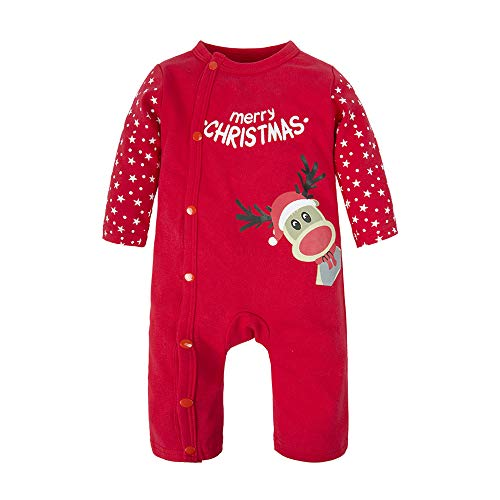 BIG ELEPHANT Baby Jungen 1 Stück Elch Weihnachten Langarm Strampler Pyjama Red M04-90