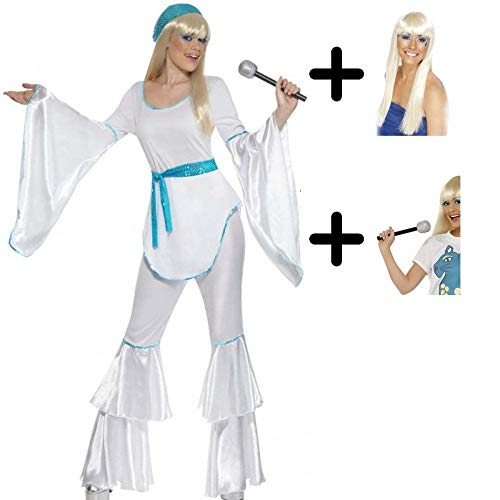 A2ZFDC Ladies 70's White & Blue Super Trooper Costume + Wig + Microphone Size: S (UK: - Fire Queen Kostüm