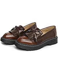 Pump Loafer 3cm Thick Bottem Tassel Slip On Casual Shoes Femmes Round Toe Bowknot Angleterre Style Gradient Color Court Shoes Eu Taille 34-43 ( Color : Khaki )