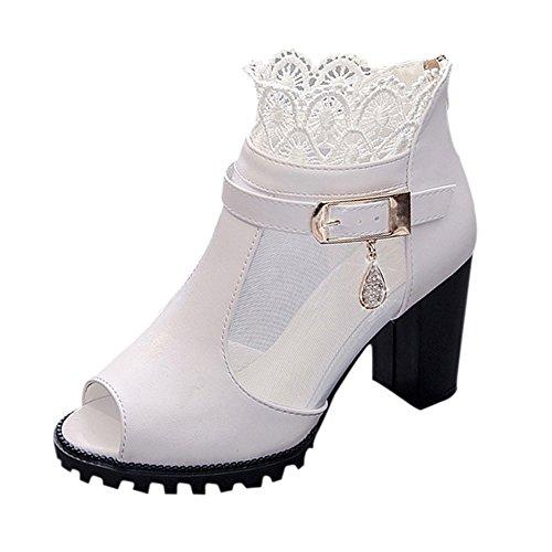 Sandalen Damen mit Absatz, FNKDOR Sommer Fräulein Schuhe (37, Weiß)